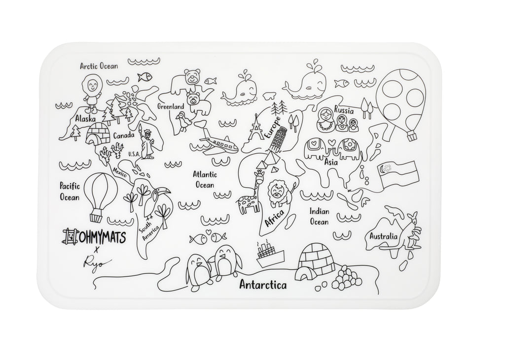 #ohmymats Around the World - Large Reuseable Colouring & Dining Place Mat (KOREA)