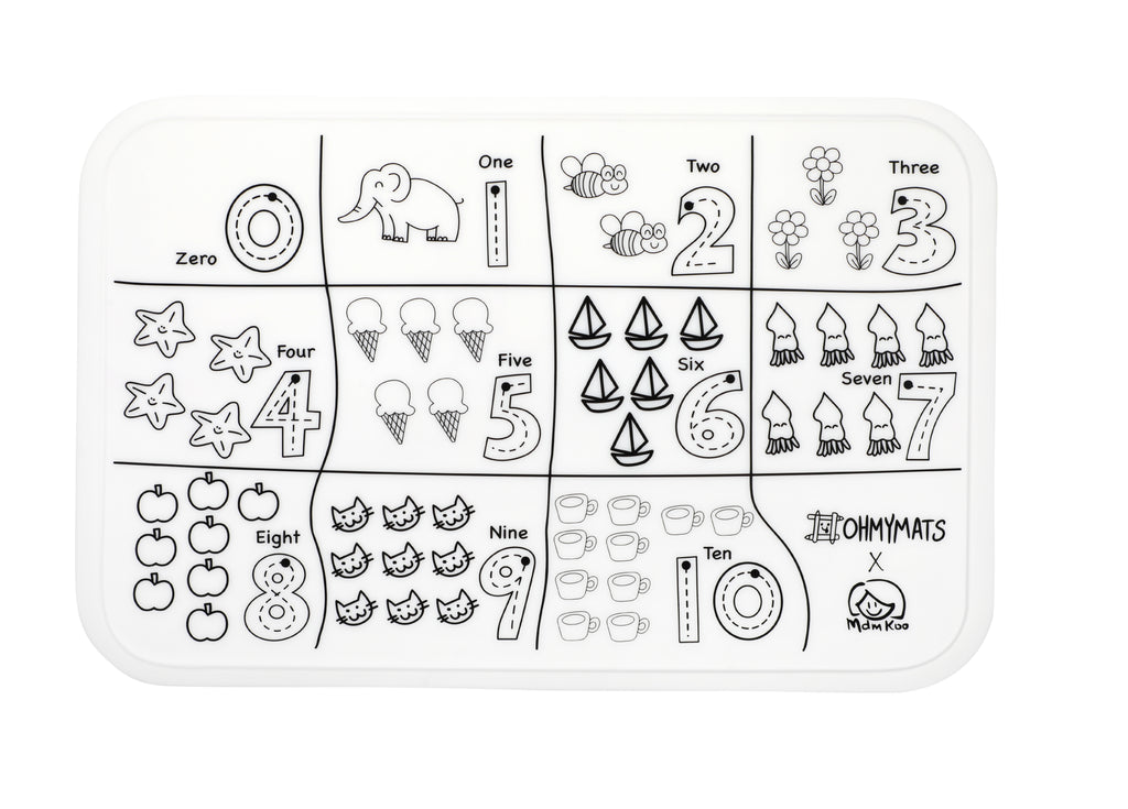 (PRE-ORDER) #ohmymats Count & Colour - Small Reuseable Colouring & Dining Place Mat (KOREA)
