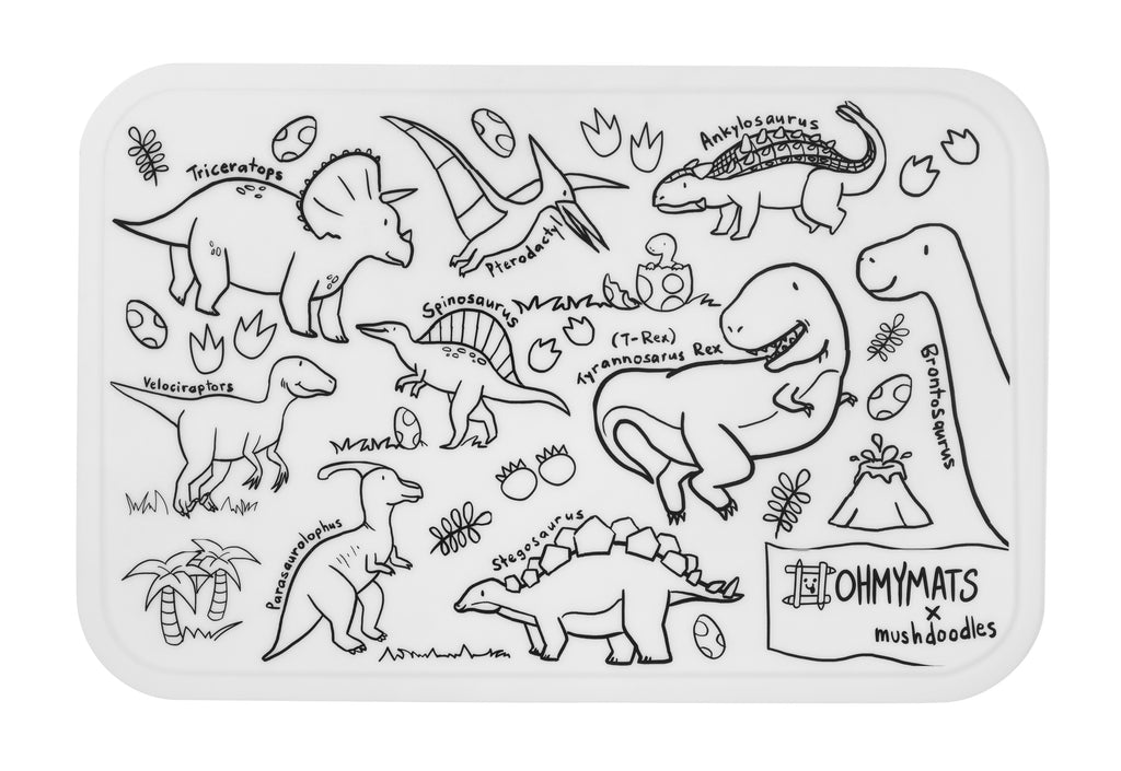 #ohmymats Dino Land - Small Reuseable Colouring & Dining Place Mat (KOREA)