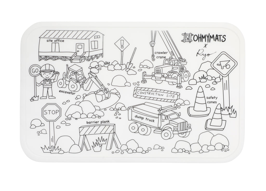 #ohmymats Construction Vehicles - Small Reuseable Colouring & Dining Place Mat (KOREA)