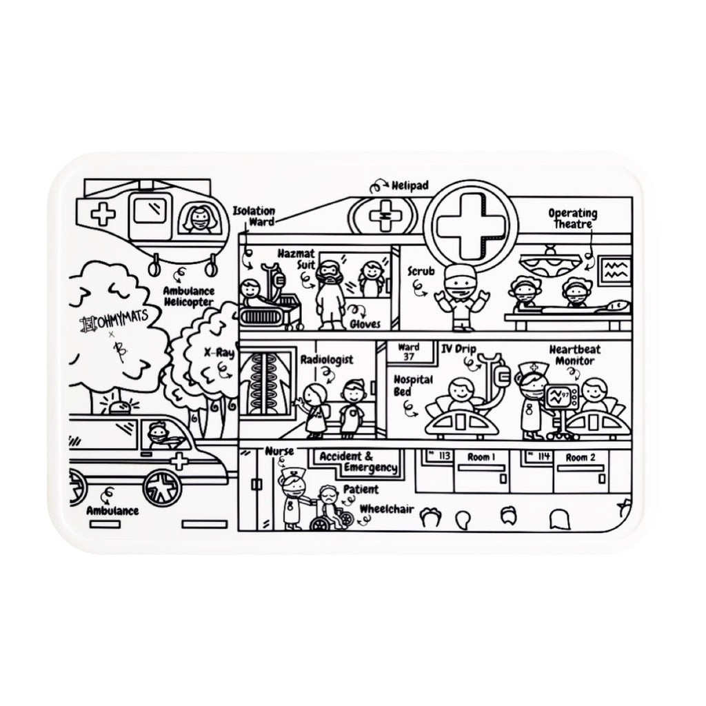 #ohmymats At the Hospital - Large Reuseable Colouring & Dining Place Mat (KOREA)