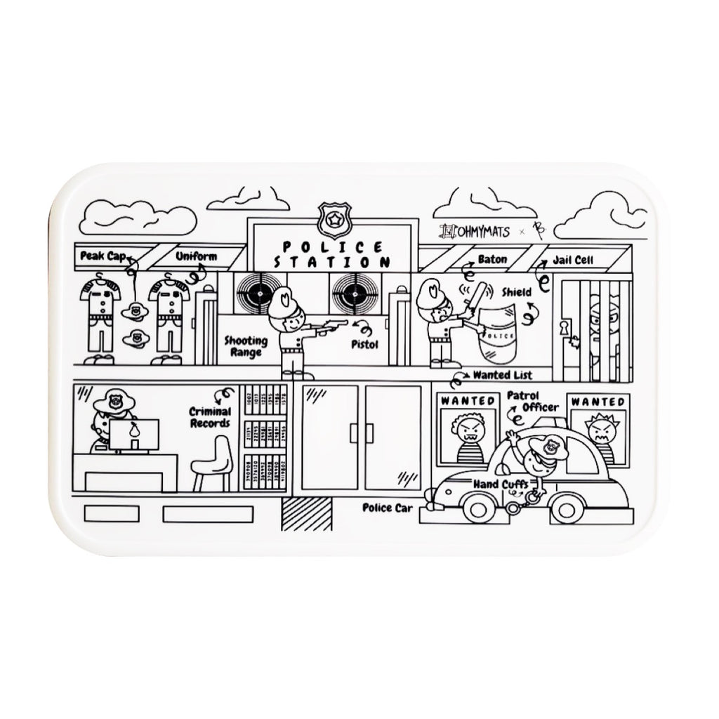 #ohmymats At the Police Station - Small Reuseable Colouring & Dining Place Mat (KOREA)