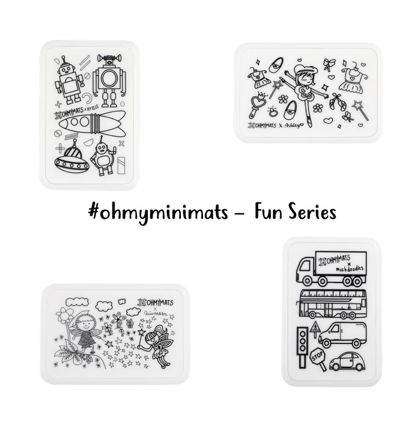 #ohmyminimats - (NEW DESIGNS!) Fun Party Packs for Mini Reuseable Colouring & Dining Place Mat (KOREA)