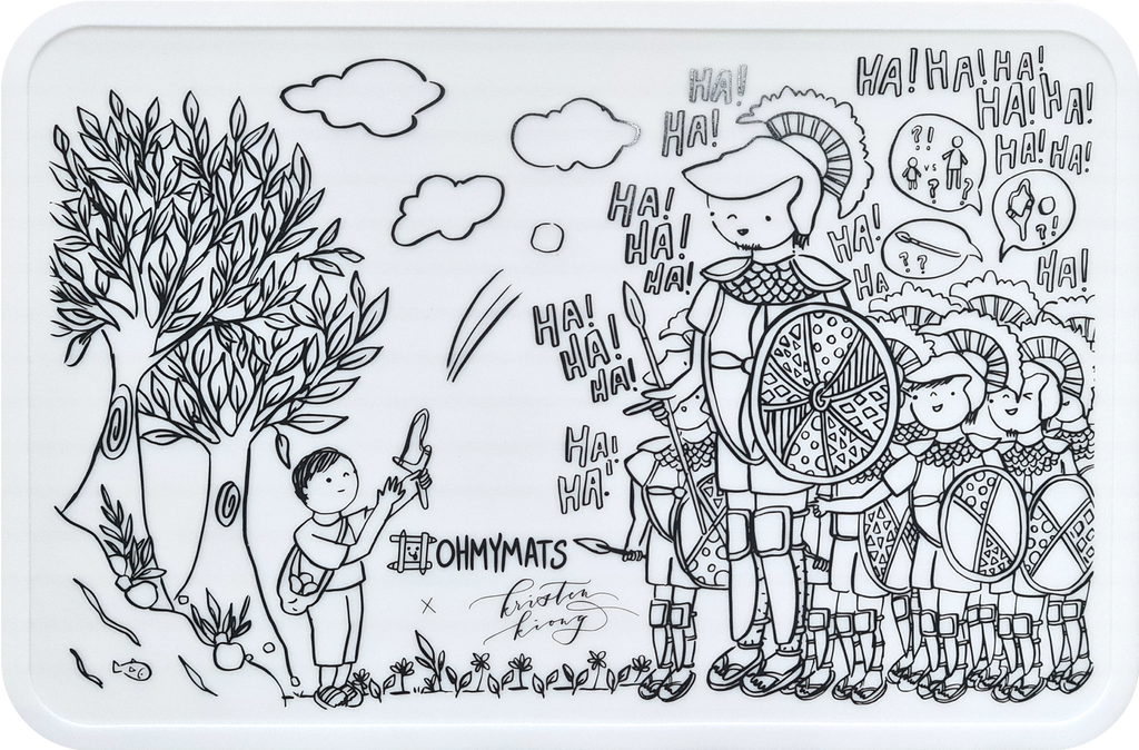 #ohmymats David & Goliath - Large Reuseable Colouring & Dining Place Mat (KOREA)