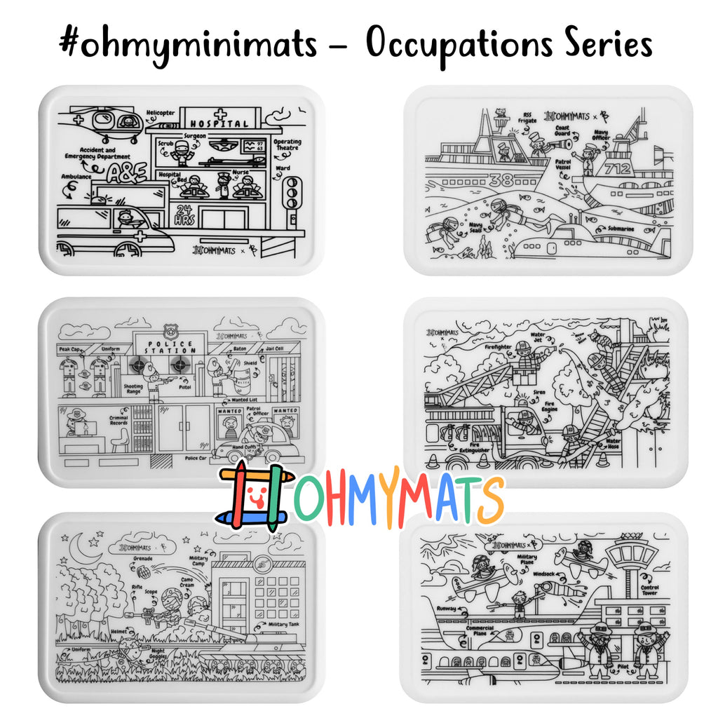#ohmyminimats - OCCUPATIONS Party Packs for Mini Reuseable Colouring & Dining Place Mat (KOREA)