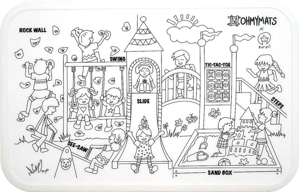 #ohmymats At the Playground - Small Reuseable Colouring & Dining Place Mat (KOREA)