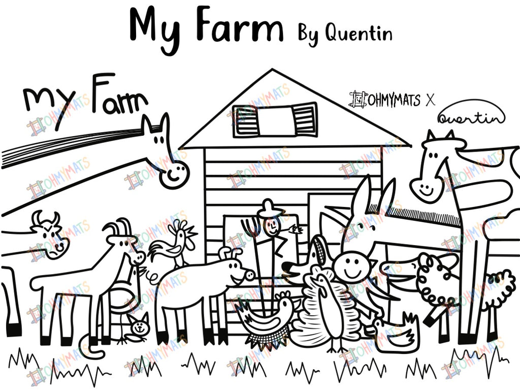 #ohmymats My Farm - Small Reuseable Colouring & Dining Place Mat (KOREA)