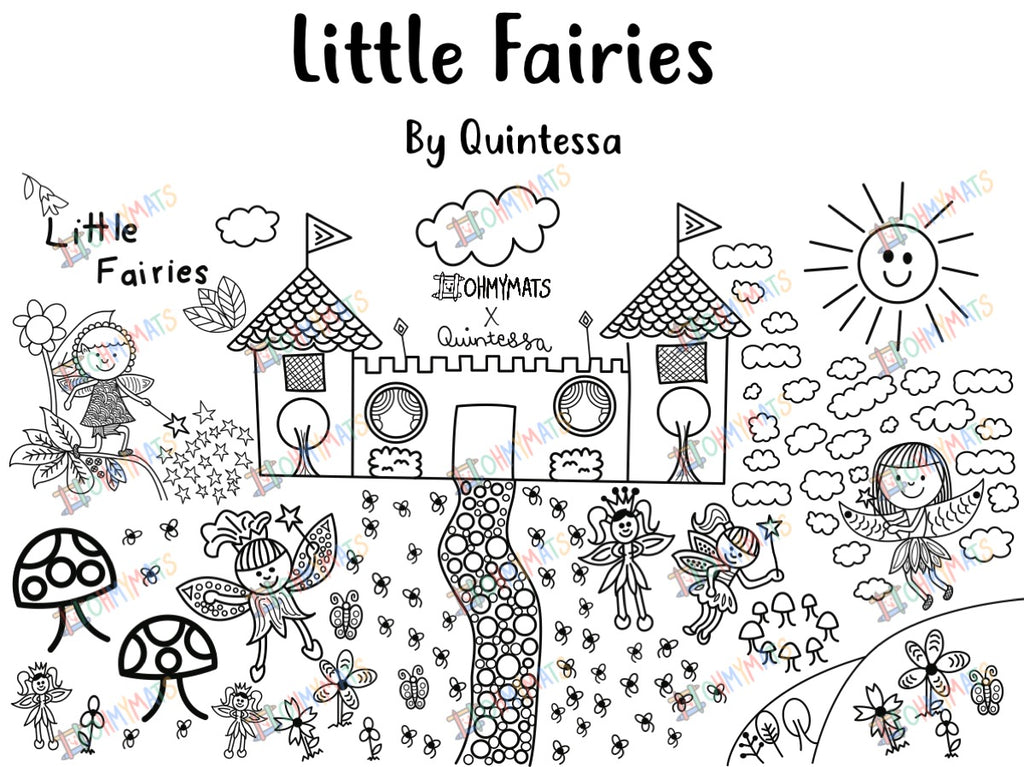 #ohmymats Little Fairies - Large Reuseable Colouring & Dining Place Mat (KOREA)