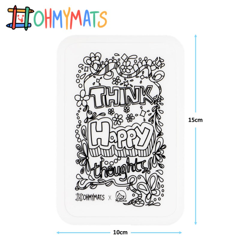 #ohmyminimats - Inspirational: Think Happy Thoughts - Reusable Mini Colouring Mats