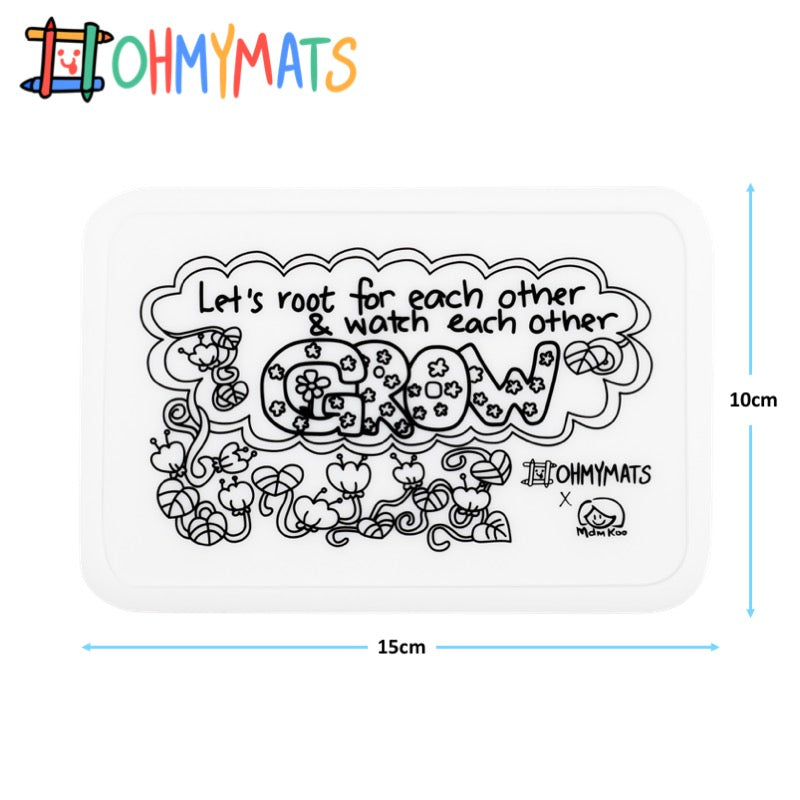 #ohmyminimats - Inspirational: Let's Root for Each Other & Grow - Reusable Mini Colouring Mats