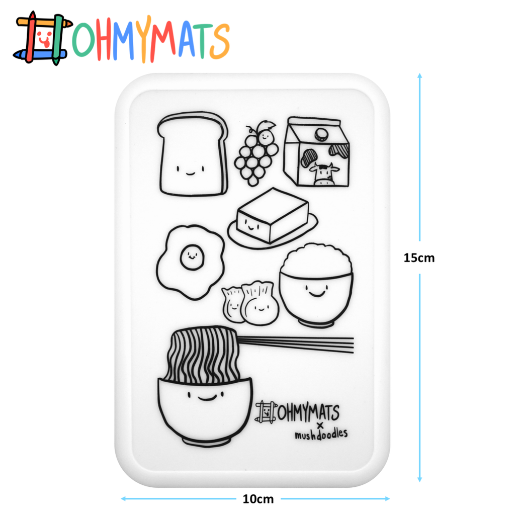 #ohmyminimats - Food Fun - Reusable Mini Colouring Mats