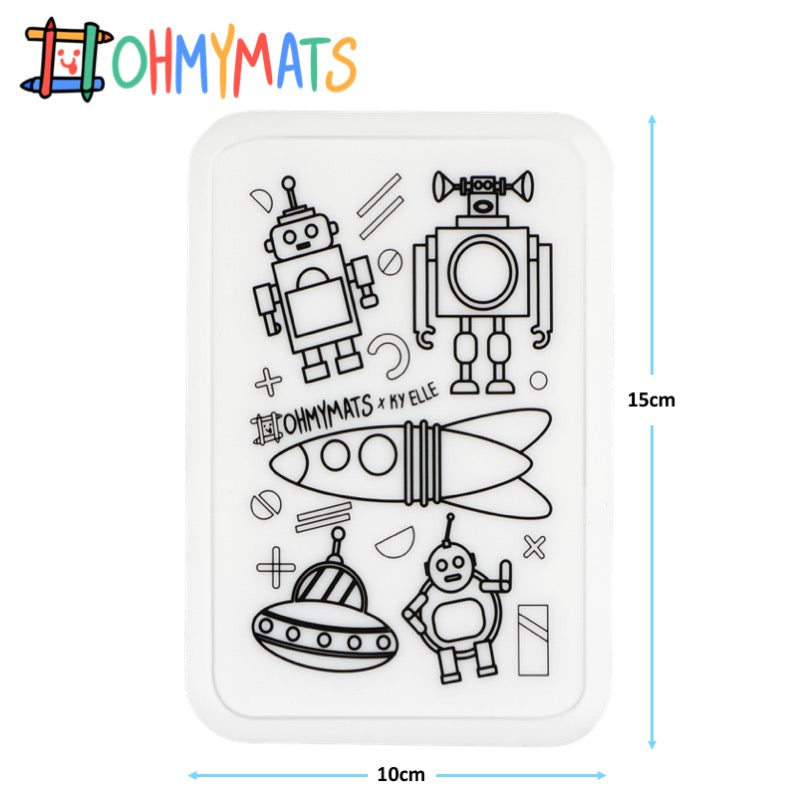 #ohmyminimats - Robot Fun - Reusable Mini Colouring Mats