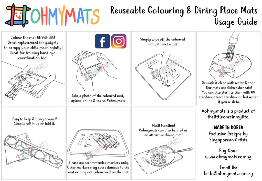 #ohmymats Plain - Large Reuseable Colouring & Dining Place Mat (KOREA)