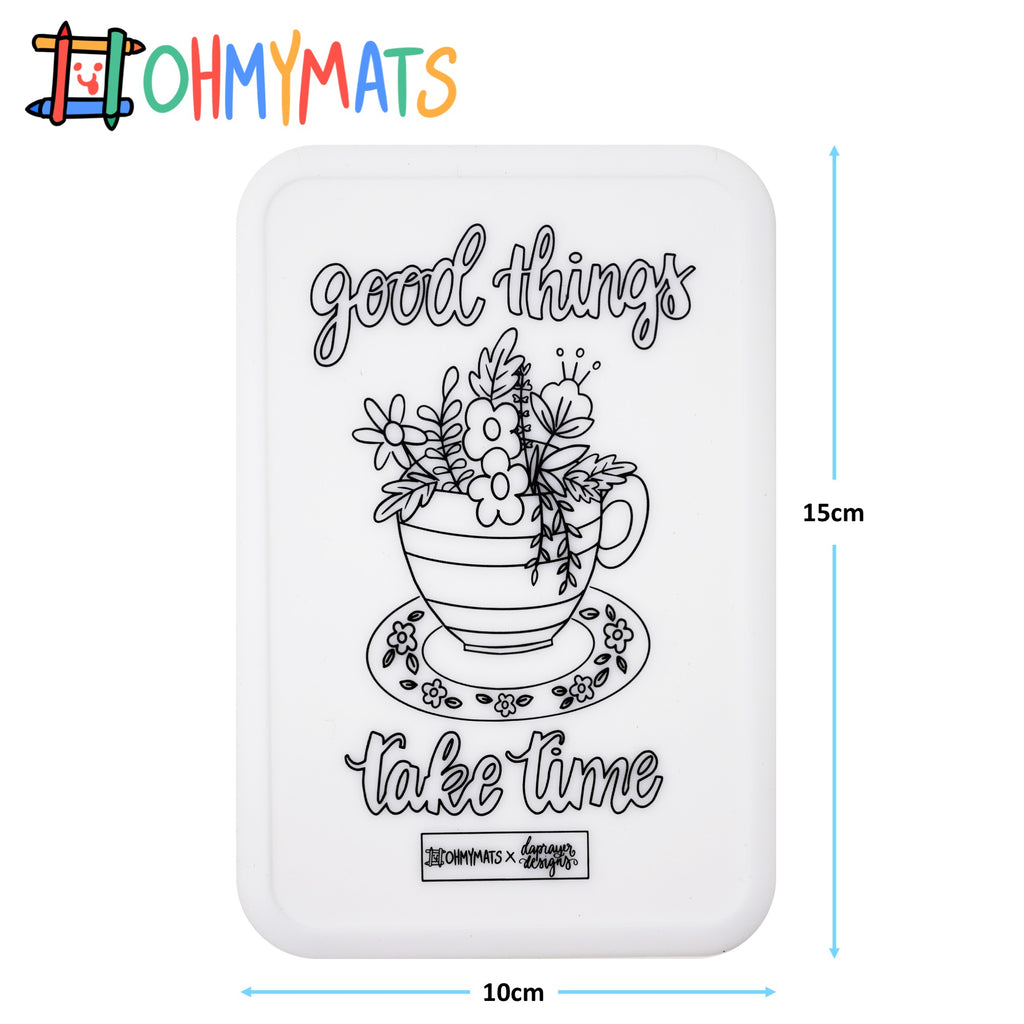 #ohmyminimats - Faith: Good Things Take Time - Reusable Mini Colouring Mats