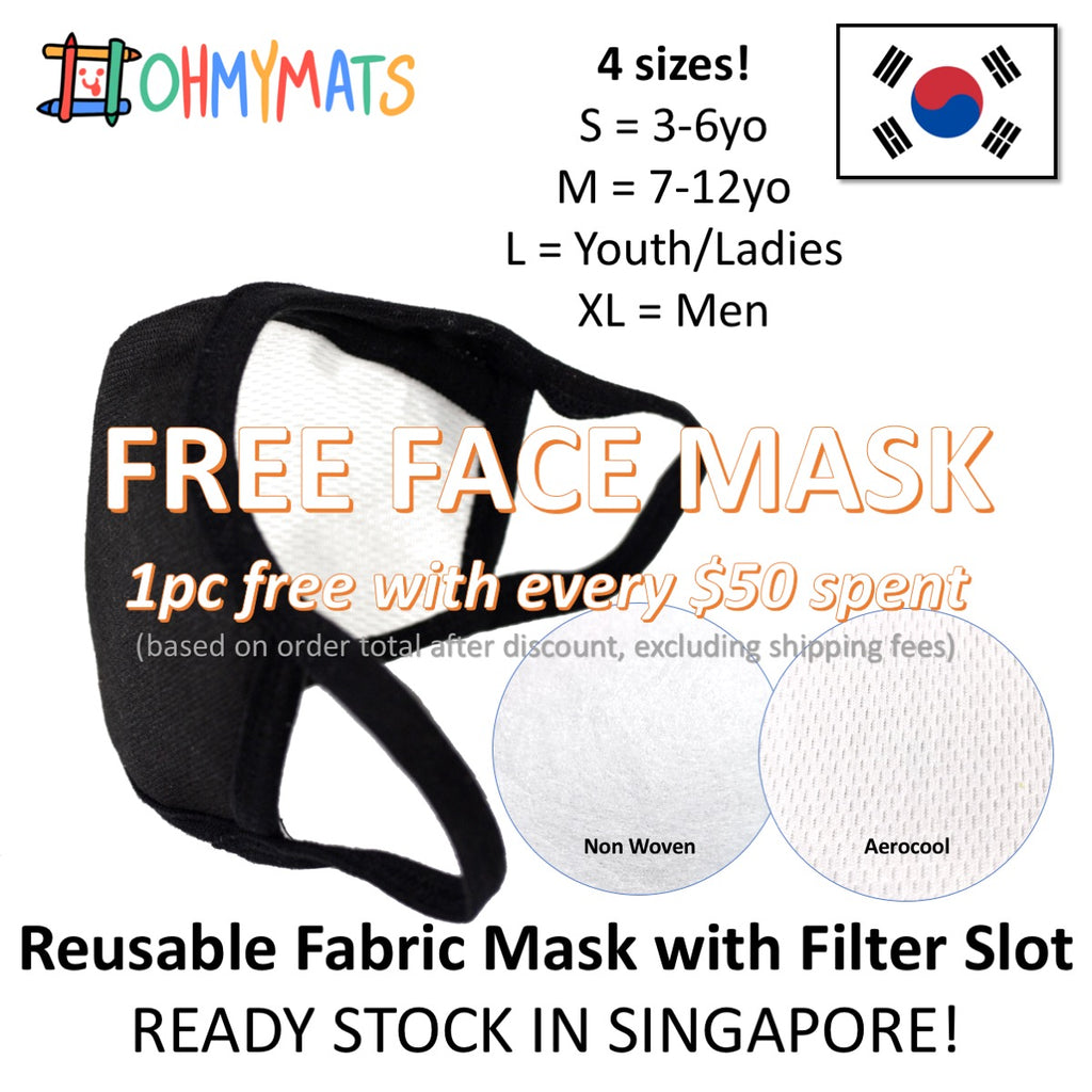 FREE: Reusable Fabric Mask with Filter Slot - 3yo to adults!