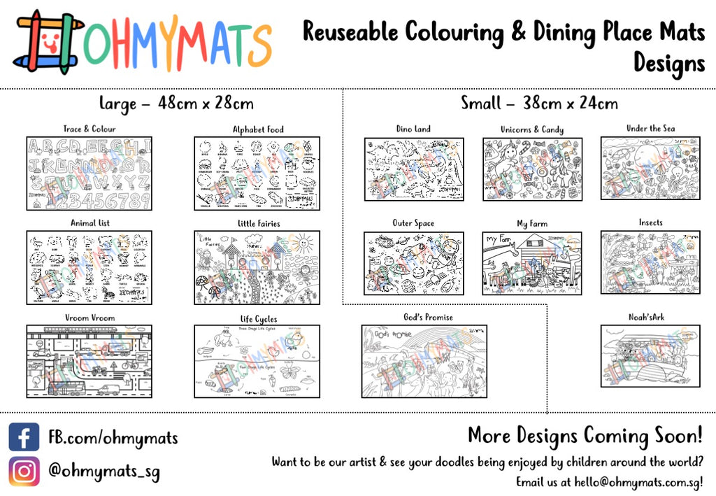 #ohmymats Animal List - Large Reuseable Colouring & Dining Place Mat (KOREA)