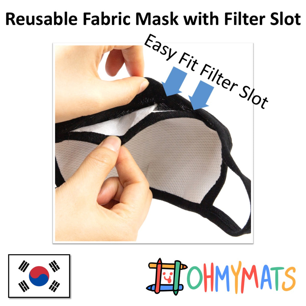 Reusable Fabric Mask with Filter Slot - 3yo to adults!