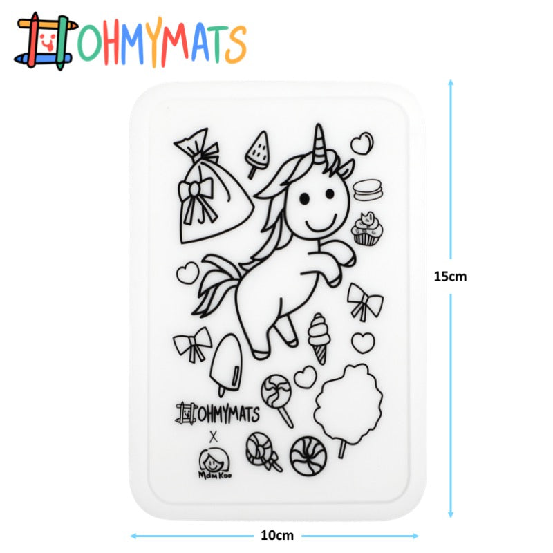 #ohmyminimats - Unicorn Fun - Reusable Mini Colouring Mats