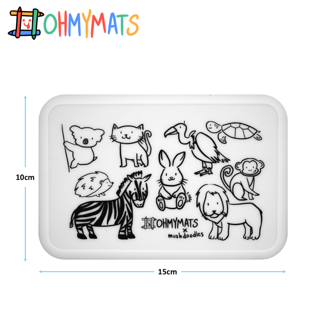 #ohmyminimats - Animal Fun - Reusable Mini Colouring Mats