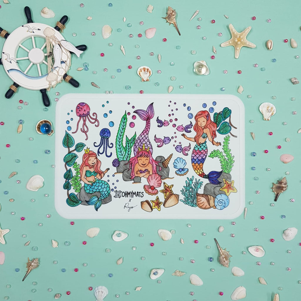 #ohmymats Mermaids - Large Reuseable Colouring & Dining Place Mat (KOREA)