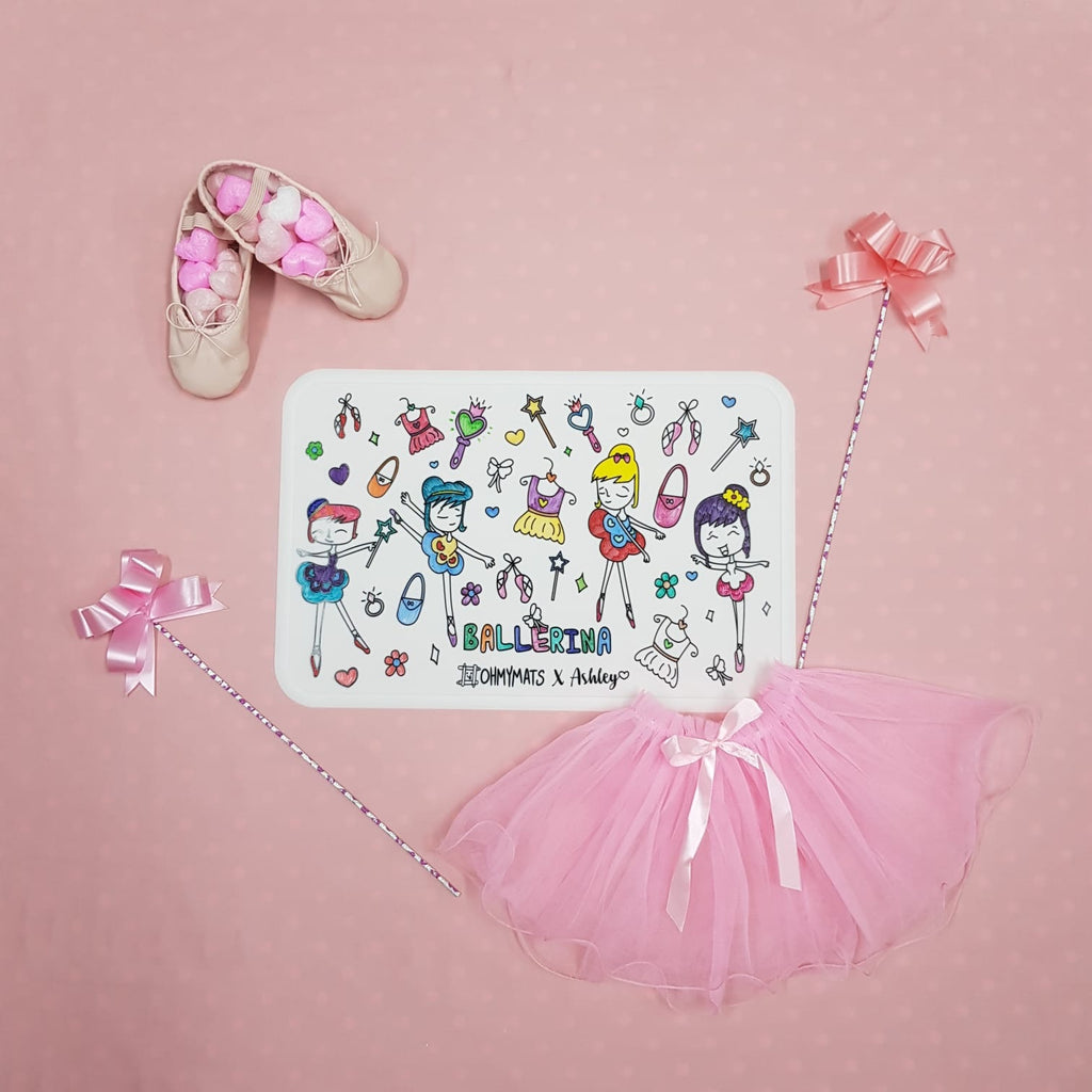 #ohmymats Ballerina - Large Reuseable Colouring & Dining Place Mat (KOREA)