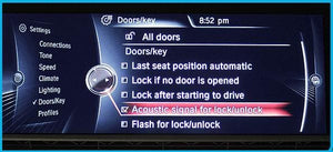 Acoustic Lock Confirm panel displayed on cars screen