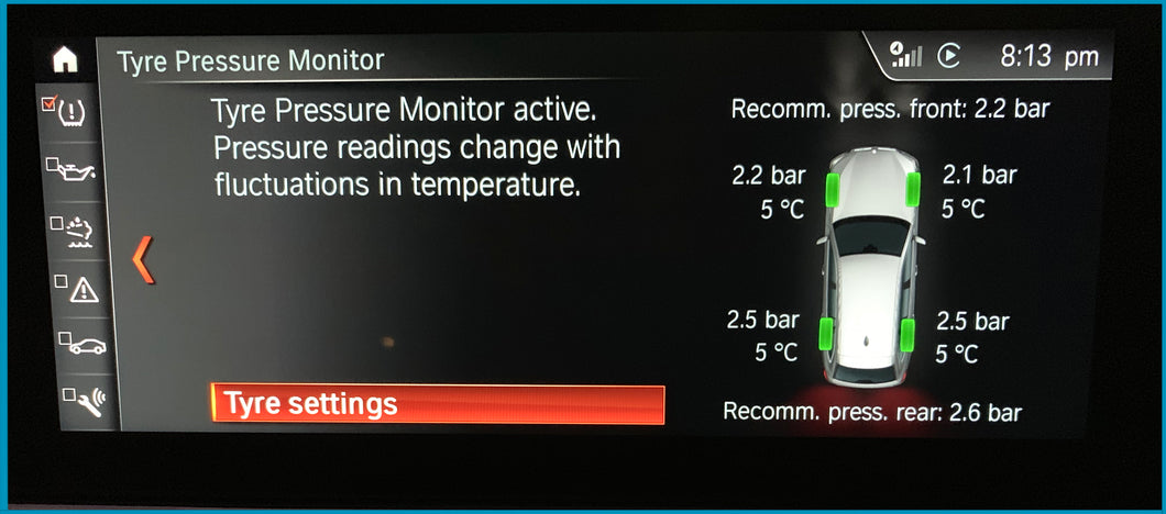 Tyre Pressure and Temperature Activation