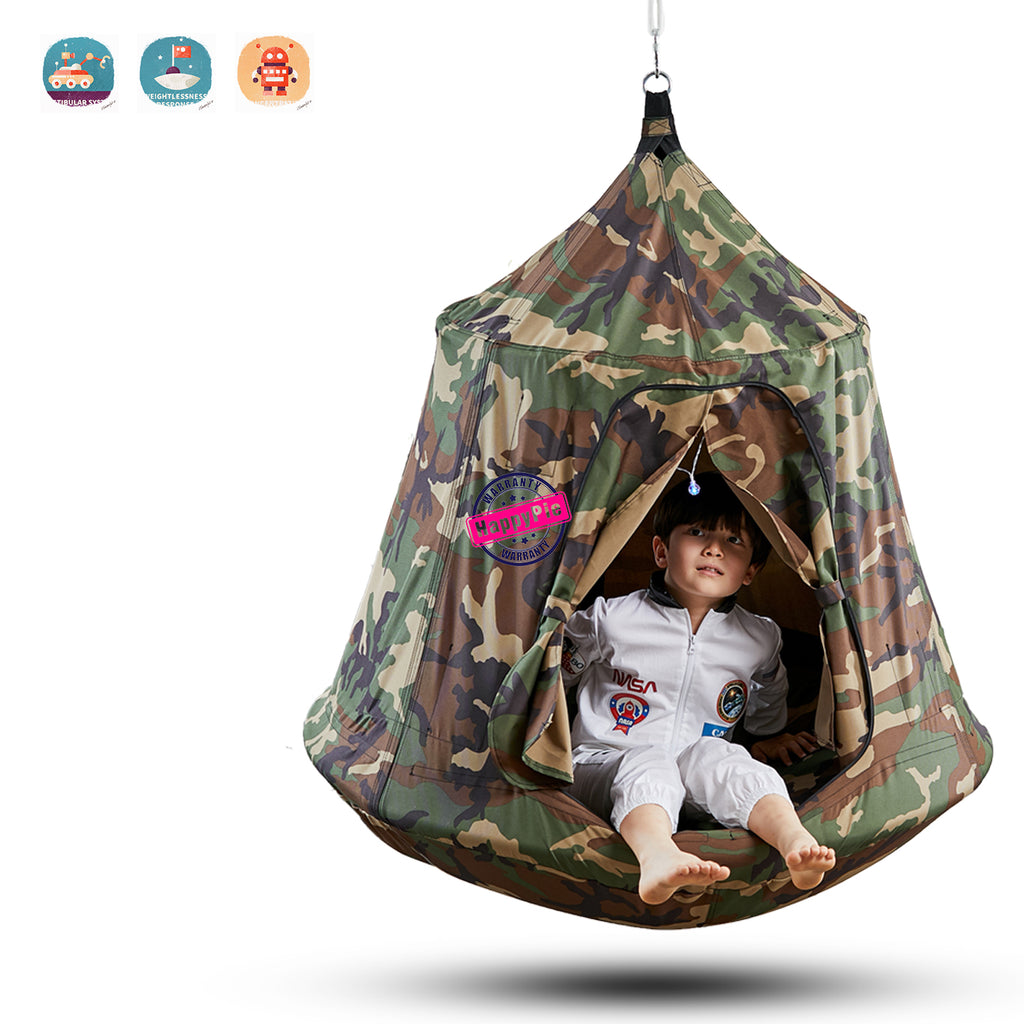 Kids Outdoor Waterproof Play Tent Hanging Hammock with Lights String