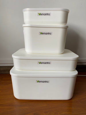 Vemantro Clear Storage Latch Box, 4.5 Quart Plastic Storage Bin with Locking Lids and Handle, 4-Pack