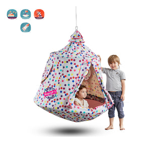 Hanging Tree Tent, Swing Play House, Portable Hammock Chair, with LED Decoration Lights, Inflatable Cushion, Suit for Adult and Kids Indoor Outdoor, Max Capacity 330lbs