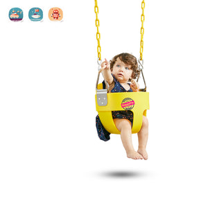 HappyPie Infant to Toddler Secure Hanging High Back Full Bucket Baby Swing Seat with Chains