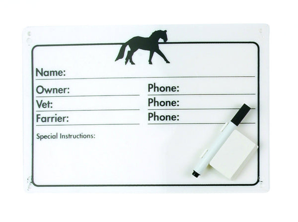 Equiessentials Horse Info Stall Plaque with Dry Erase Pen