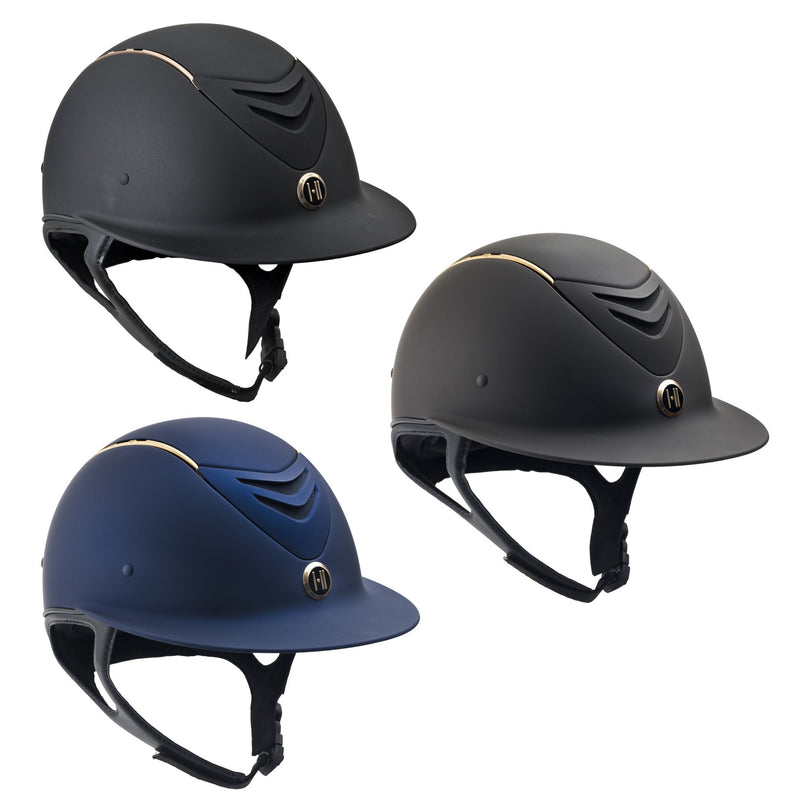 One K Avance Wide Brim Rose Gold Stripe Helmet