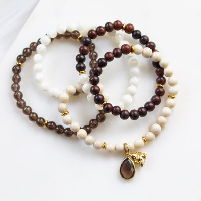 smoky quartz riverstone mala beads