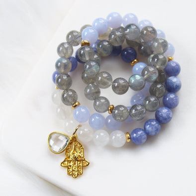 lightworker mala beads labradorite moonstone tanzanite