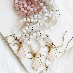 rose quartz moonstone moon mala chandra