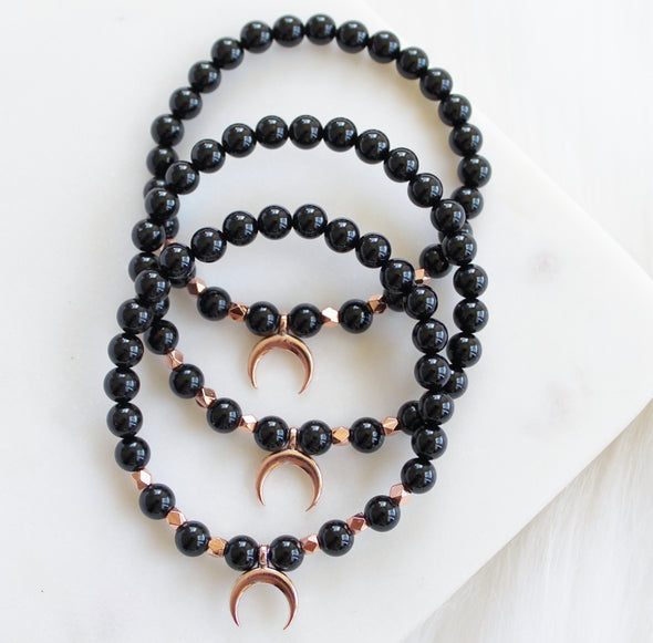 black onyx mala beads crescent moon