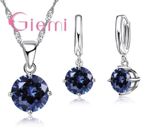 Giemi Crystal Pendant Necklace Earrings Elegant Jewelry Set