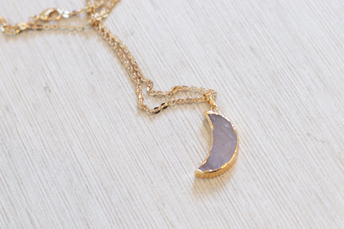 The Magic Moon Necklace // Rose Quartz