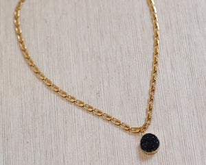 The Karly Necklace // Black Druzy