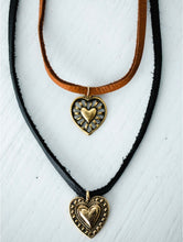 Load image into Gallery viewer, The Brass Heart Choker // Chestnut