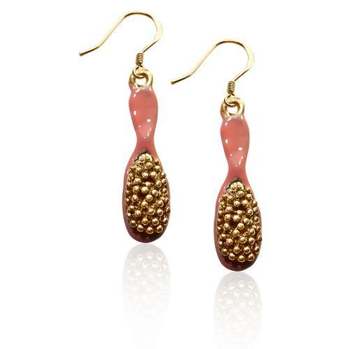 Hair Brush Charm Earrings in Gold