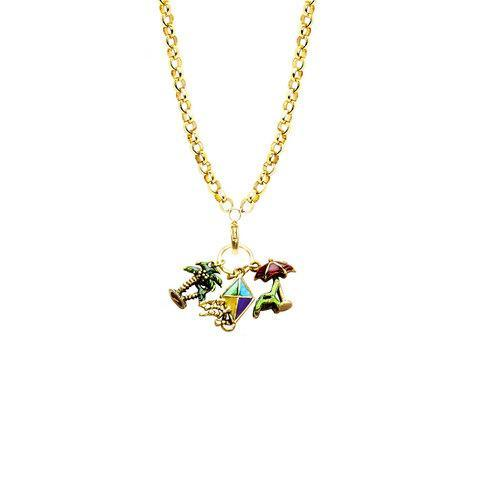 Summer Fun in the Sun Charm Necklace in Gold