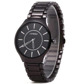 Sinobi 9442 Cool and Fashionable JAPAN Round Dial Quartz Watch Stainless Steel Strap for Male - Black
