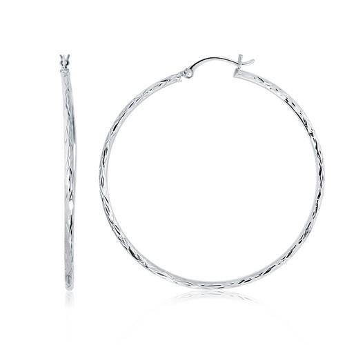 14k White Gold Diamond Cut Hoop Earrings (1 3/4 inch Diameter)