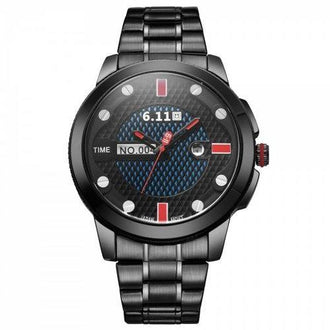 6.11 GD004 Photoelectric Conversion Male Watch Japan Movt Mineral Glass Date Display - Red With Black