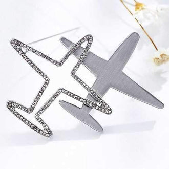 Rhinestone Airplane Hollow Out Brooch - Silver