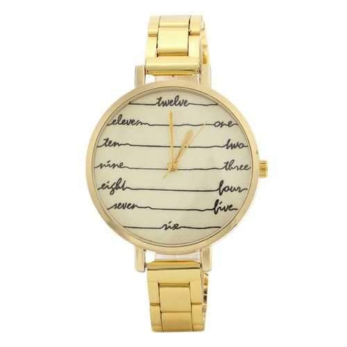 Alloy Strap English Number Face Watch - Golden