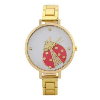 Alloy Strap Ladybug Face Watch - Golden