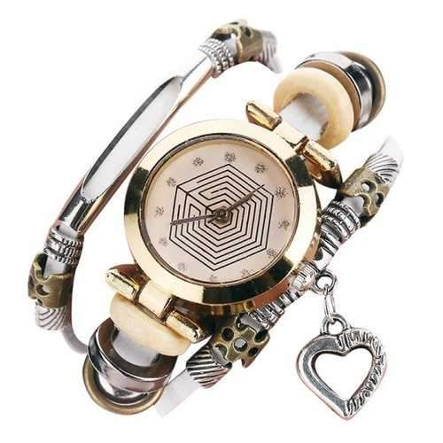 Rhinestone Heart Layered Charm Bracelet Watch - White
